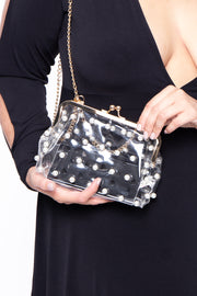 Curvy Sense -Plus_Size_Womens- Glasgow Vinyl & Pearls Crossbody Bag - Clear