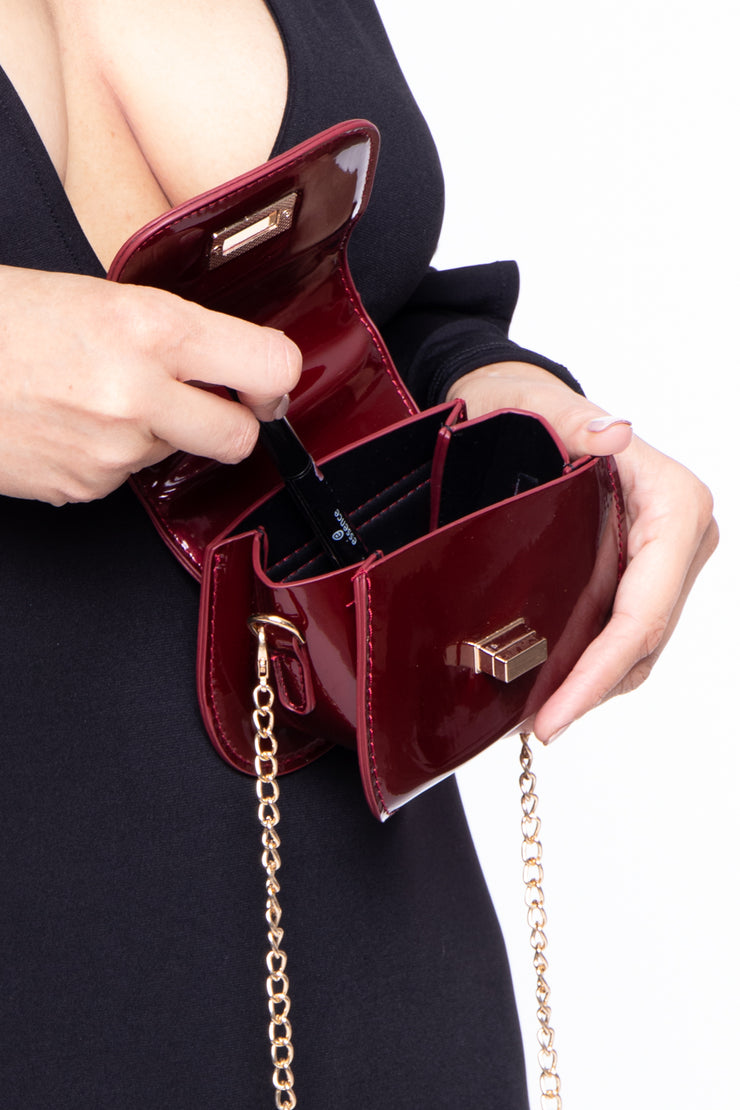 Luxor Patent Mini Bag - Burgundy