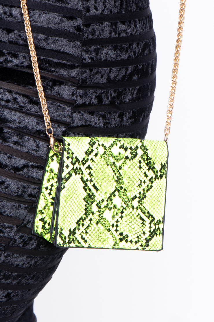 Ophiusa Snake Print Crossbody Mini Bag - Neon Lime