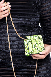 Curvy Sense -Plus_Size_Womens- Ophiusa Snake Print Crossbody Mini Bag - Neon Lime
