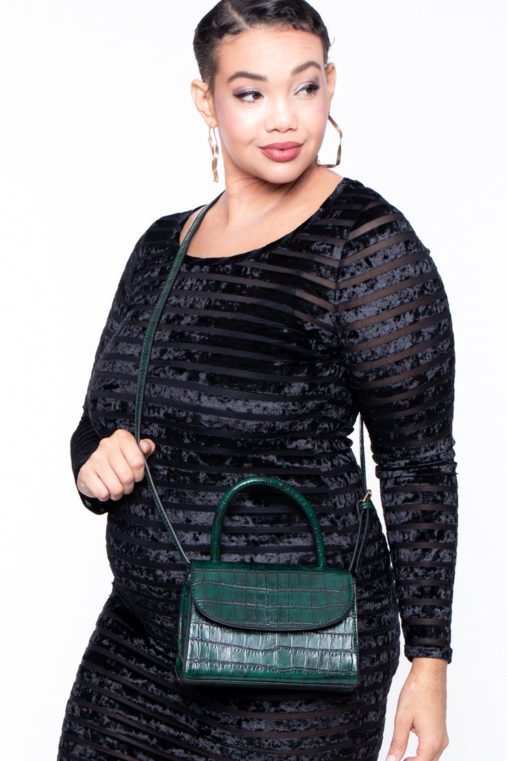 Curvy Sense -Plus_Size_Womens- Baton Rouge Faux Crocodile Purse - Green
