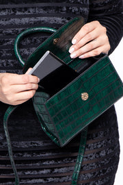 Baton Rouge Faux Crocodile Purse - Green