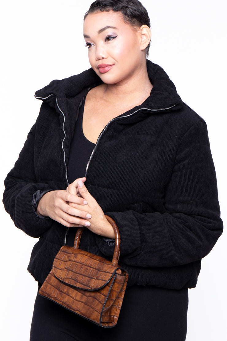 Baton Rouge Faux Crocodile Purse - Brown
