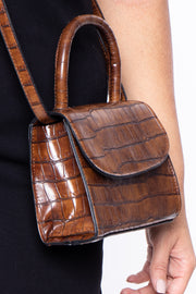 Curvy Sense -Plus_Size_Womens- Baton Rouge Faux Crocodile Purse - Brown