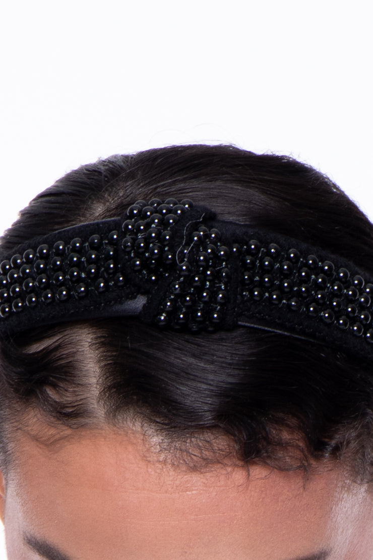 Knotted Beaded Headband - Black