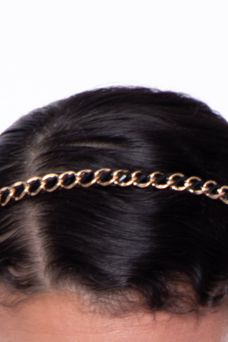 Chain + Bead Headband - Gold