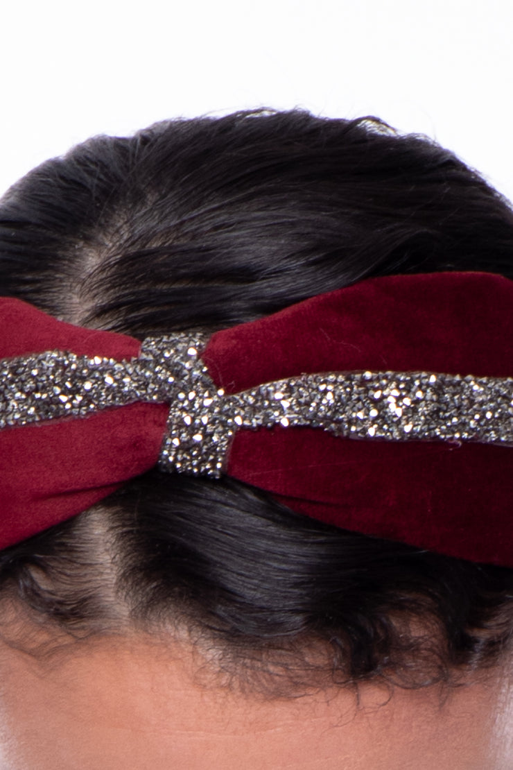 Metallic Lined Velvet Headband - Burgundy