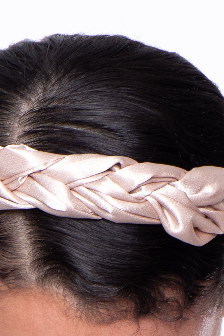 Braided Sateen Headband - Nude