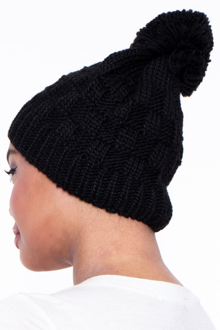 Checker Knit Pom Pom Beanie - Black