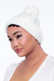 Cable Knit Faux Fur Pom Pom Beanie - Ivory