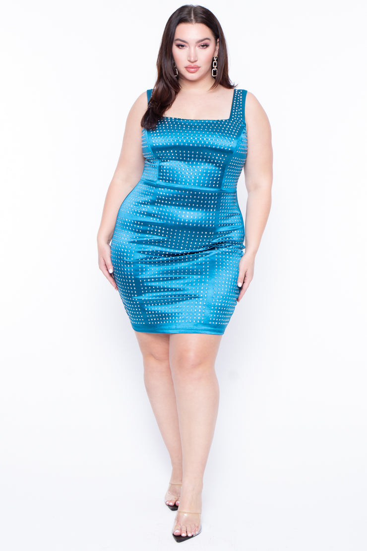 Plus Size Alizza Studded Bodycon Dress - Teal