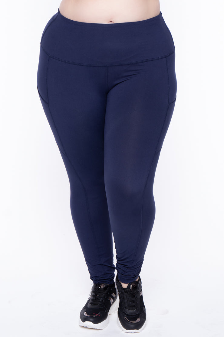 Plus Size Active Side Pocket Legging - Navy