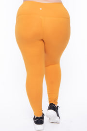 Curvy Sense -Plus_Size_Womens- Plus Size Active Side Pocket Legging - Mustard