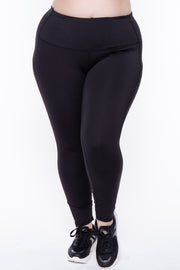 Plus Size Active Side Pocket Legging - Black