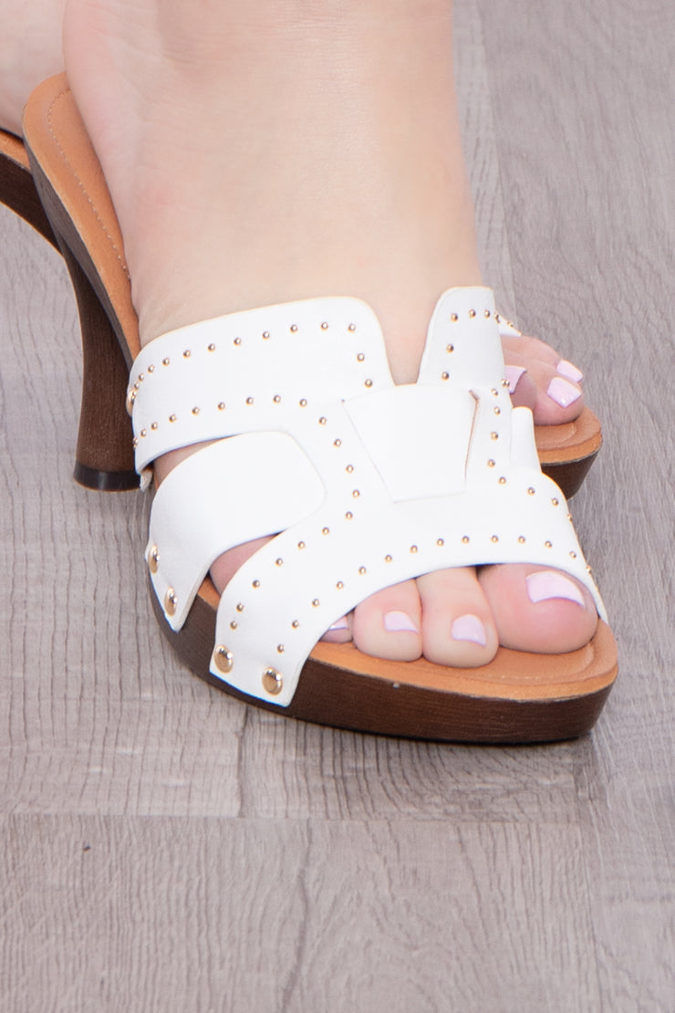 Madeira Studded Mule Heels - White