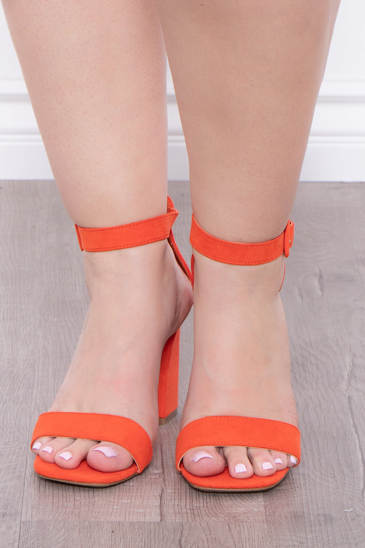 Garnish Square Toe Block Heels - Orange