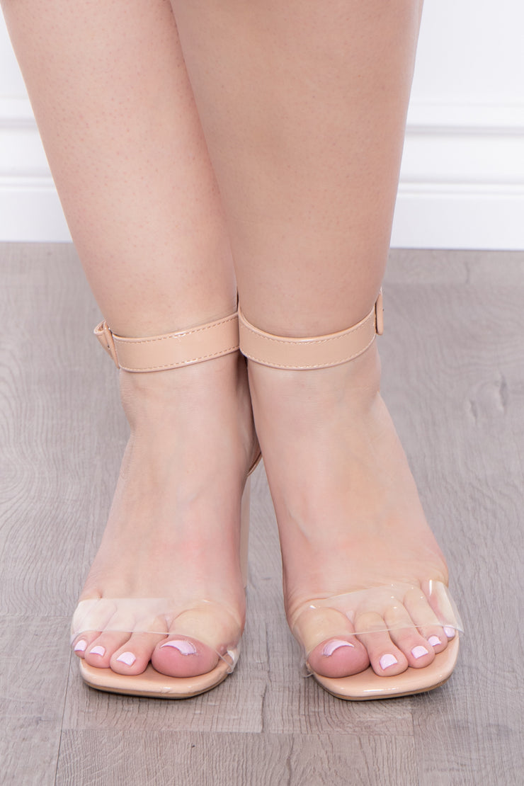 Garnish Square Toe Block Heels - Nude