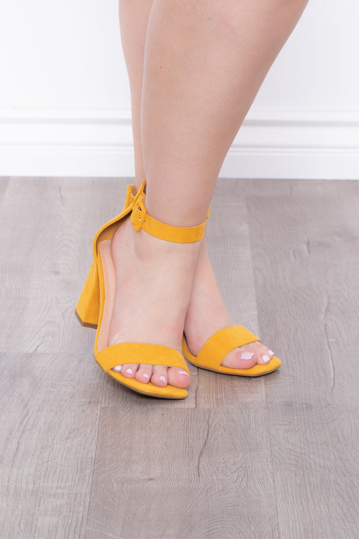 Curvy Sense -Plus_Size_Womens- Garnish Square Toe Block Heels - Mustard