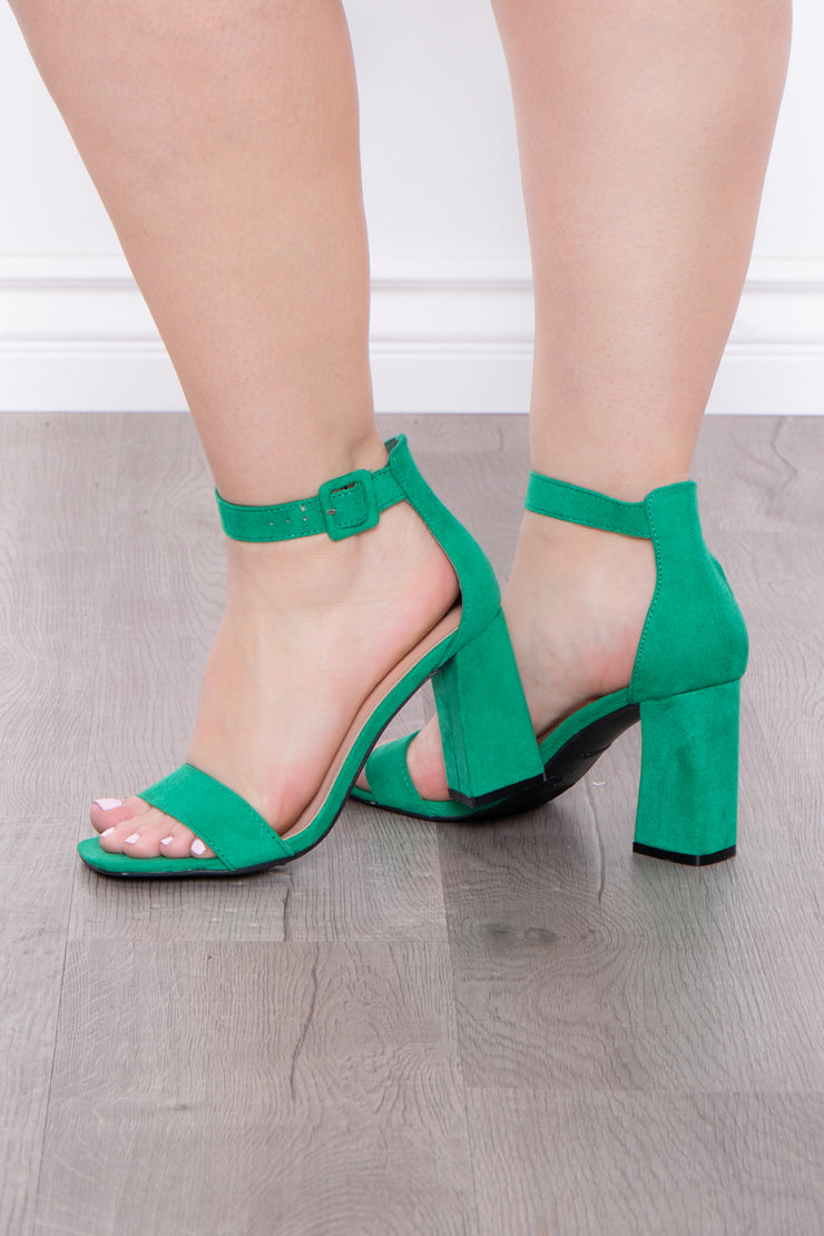 Curvy Sense -Plus_Size_Womens- Garnish Square Toe Block Heels - Green
