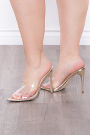 Curvy Sense -Plus_Size_Womens- Gunfire Vinyl Vamp Stilettos - Gold