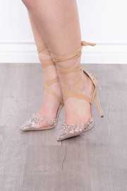 Curvy Sense -Plus_Size_Womens- Jungle Bird Spike Covered Wrap Around Pumps - Nude