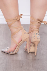 Jungle Bird Spike Covered Wrap Around Pumps - Nude