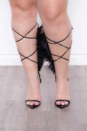 Carnival Feathered Wrap Around Pointy Stilettos - Black