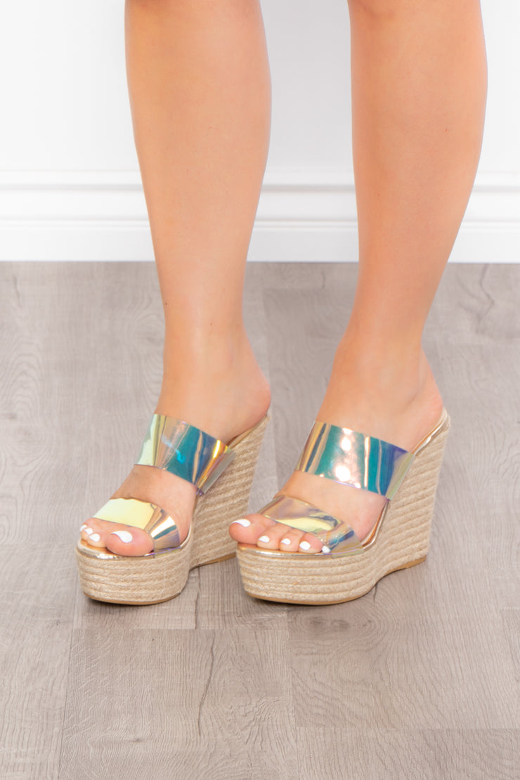 Mint Julep Iridescent Vinyl Wedges - Purple