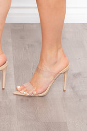 Glass Gardens Double Vinyl Strap Stilettos - Nude