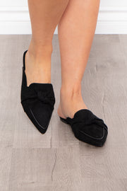 Blackthorn Knotted Flat Mule - Black