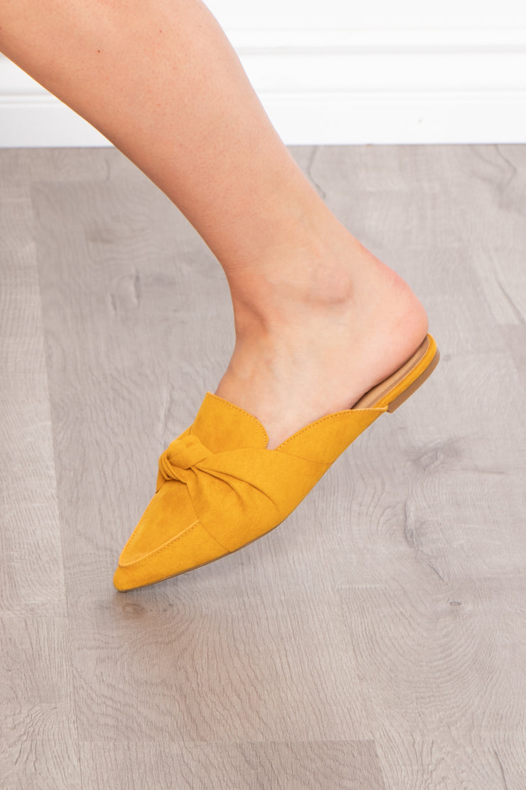 Curvy Sense -Plus_Size_Womens- Blackthorn Knotted Flat Mule - Mustard
