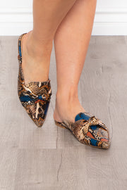 Blackthorn Snake Print Knotted Flat Mule - Tan