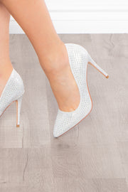 Demi Sec Rhinestone Covered Pumps - Silver
