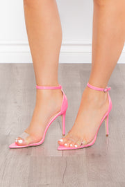 My Fair Lady Vinyl Strappy Heels - Neon Pink