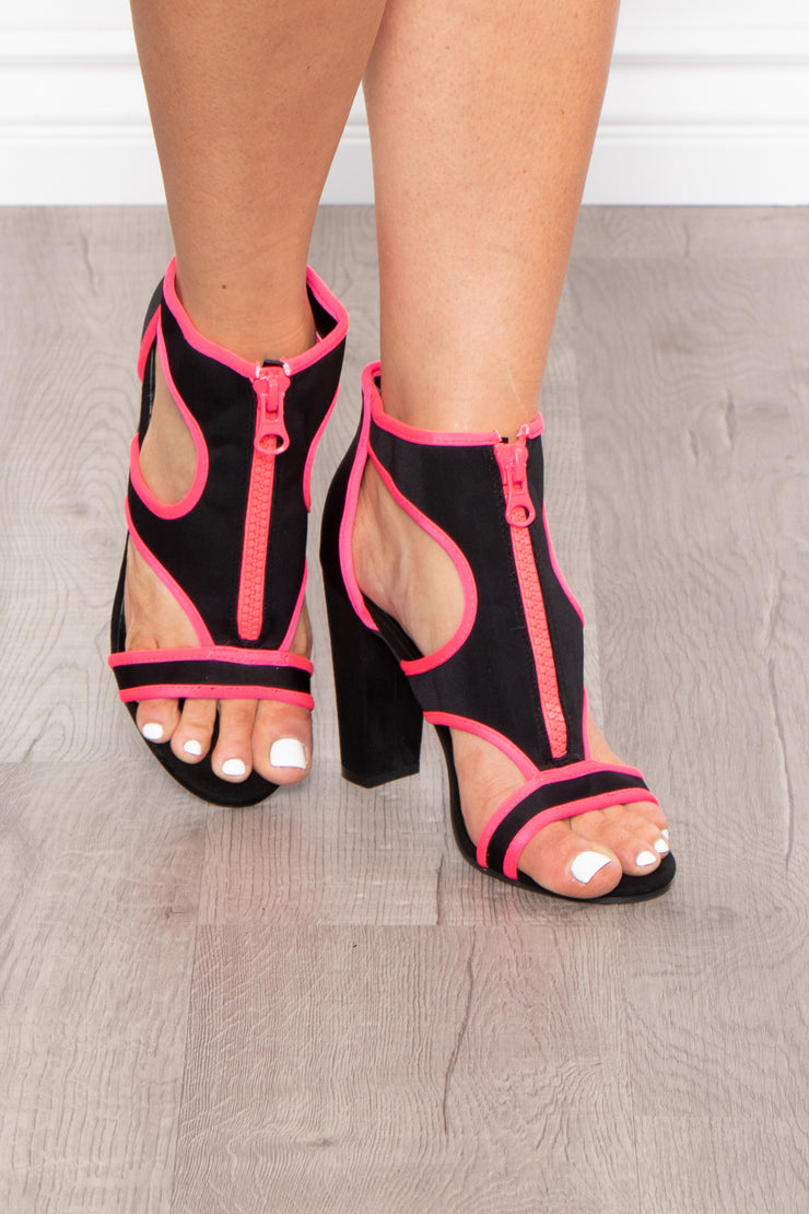 Curvy Sense -Plus_Size_Womens- Gin Sour Caged Zip Up Heels - Neon Pink