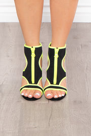 Gin Sour Caged Zip Up Heels - Neon Lime