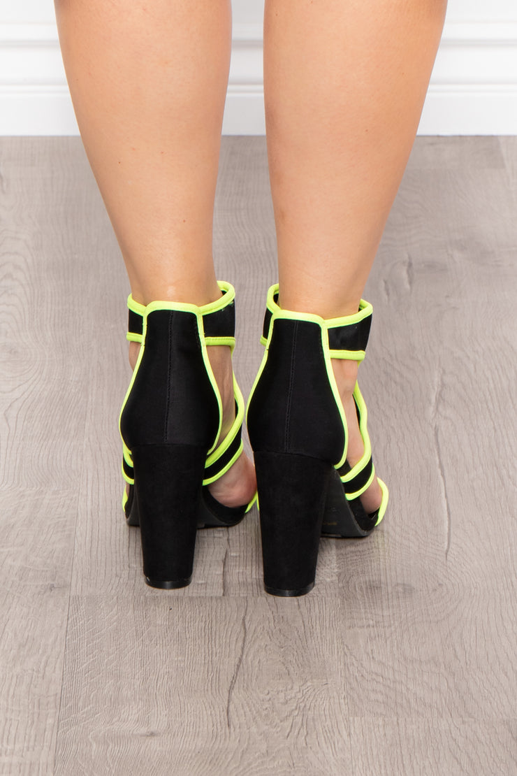 Curvy Sense -Plus_Size_Womens- Gin Sour Caged Zip Up Heels - Neon Lime