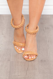Metaxa Studded Strappy Stilettos - Nude
