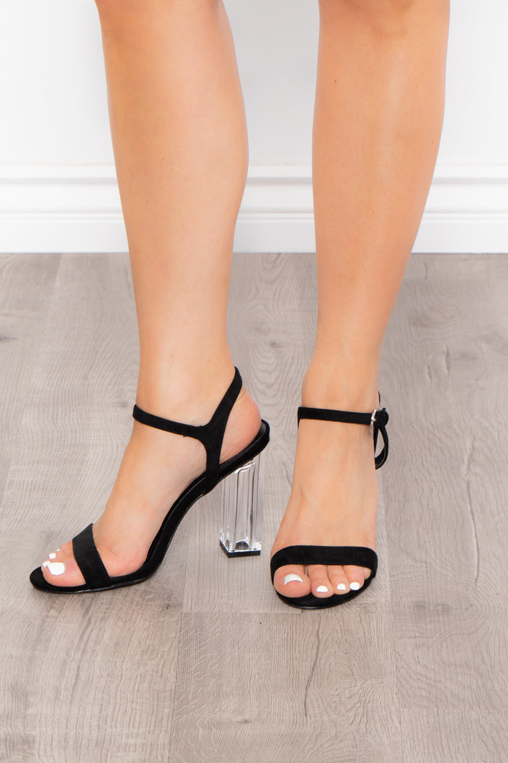 Curvy Sense -Plus_Size_Womens- Calimocho Strappy Lucite Heels - Black