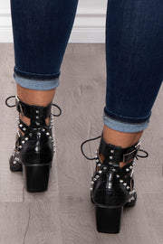 Painkiller Cut-Out Alligator Spiked Booties - Black