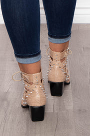 Painkiller Cut-Out Alligator Spiked Booties - Nude