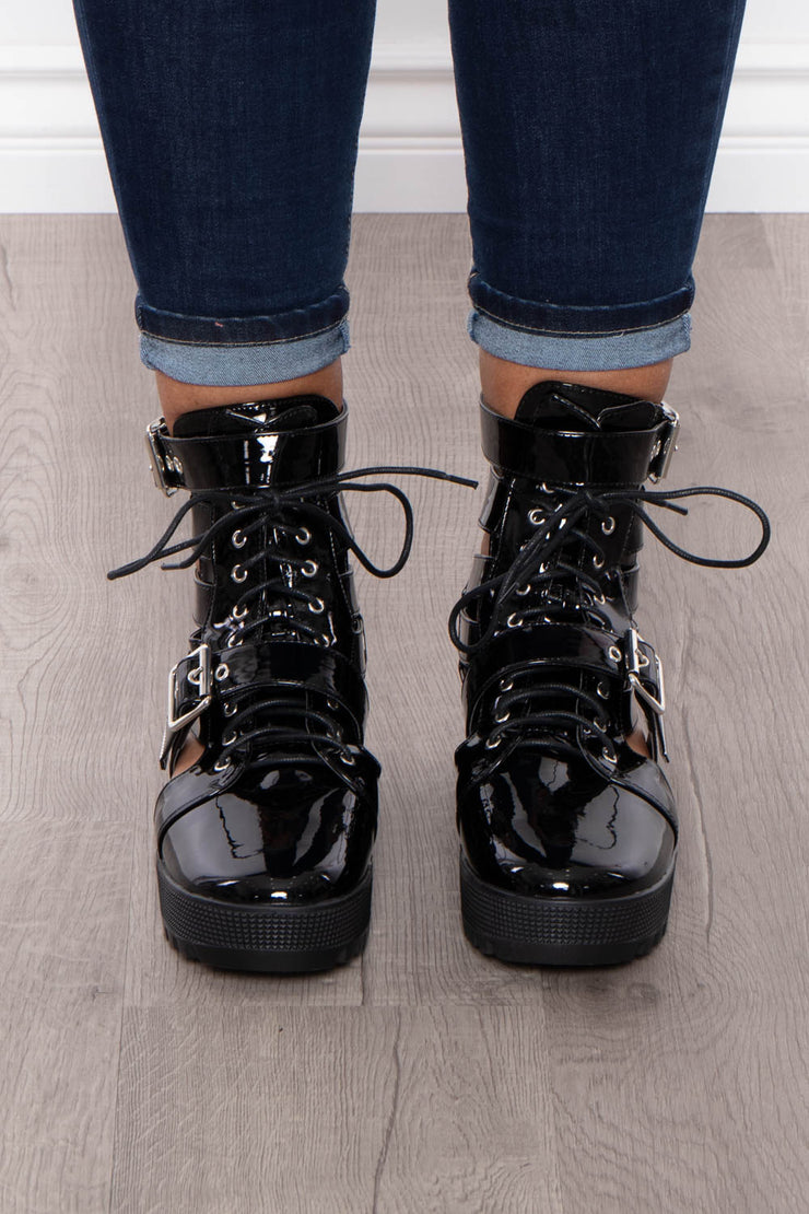 Aviation Double Buckle Caged Combat Boots - Black