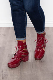 Curvy Sense -Plus_Size_Womens- Aviation Double Buckle Caged Combat Boots - Burgundy