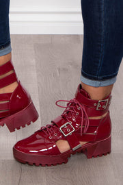 Aviation Double Buckle Caged Combat Boots - Burgundy