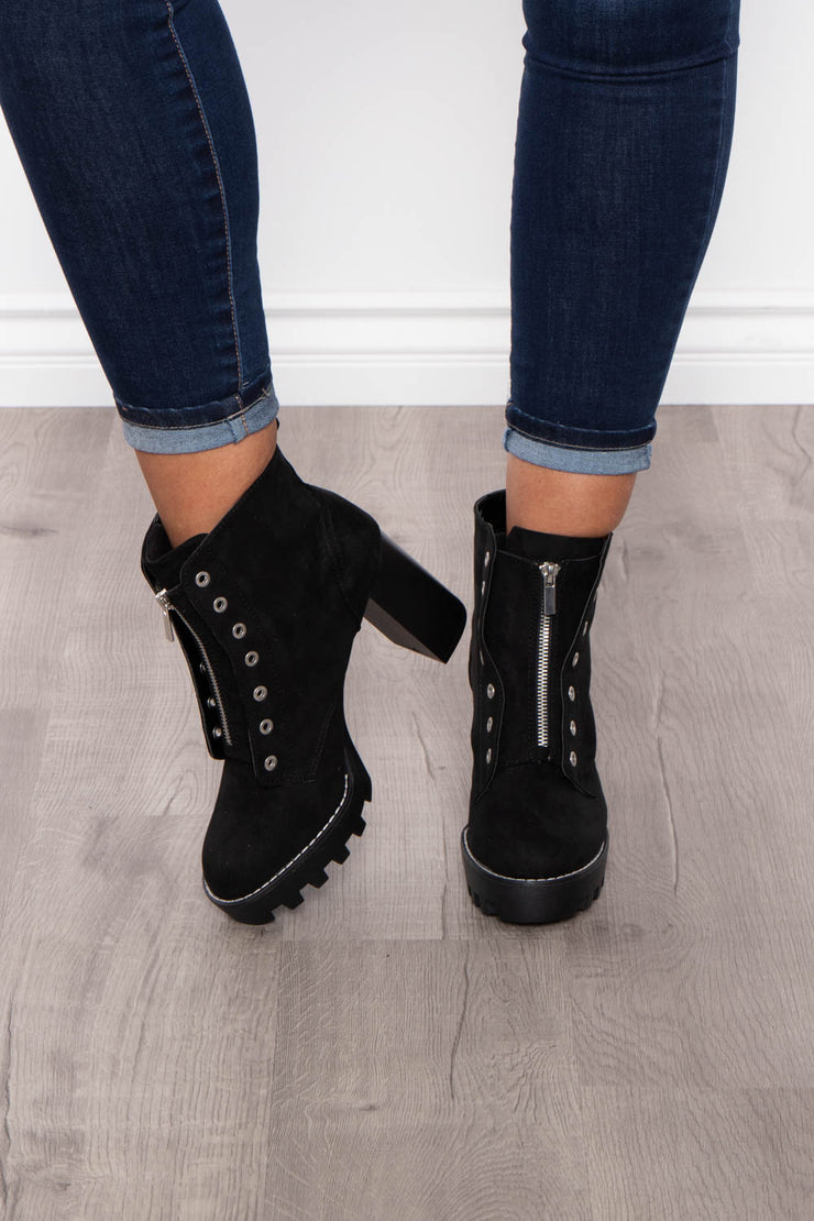 Imperial Stout Zip-Up Platform Boots - Black