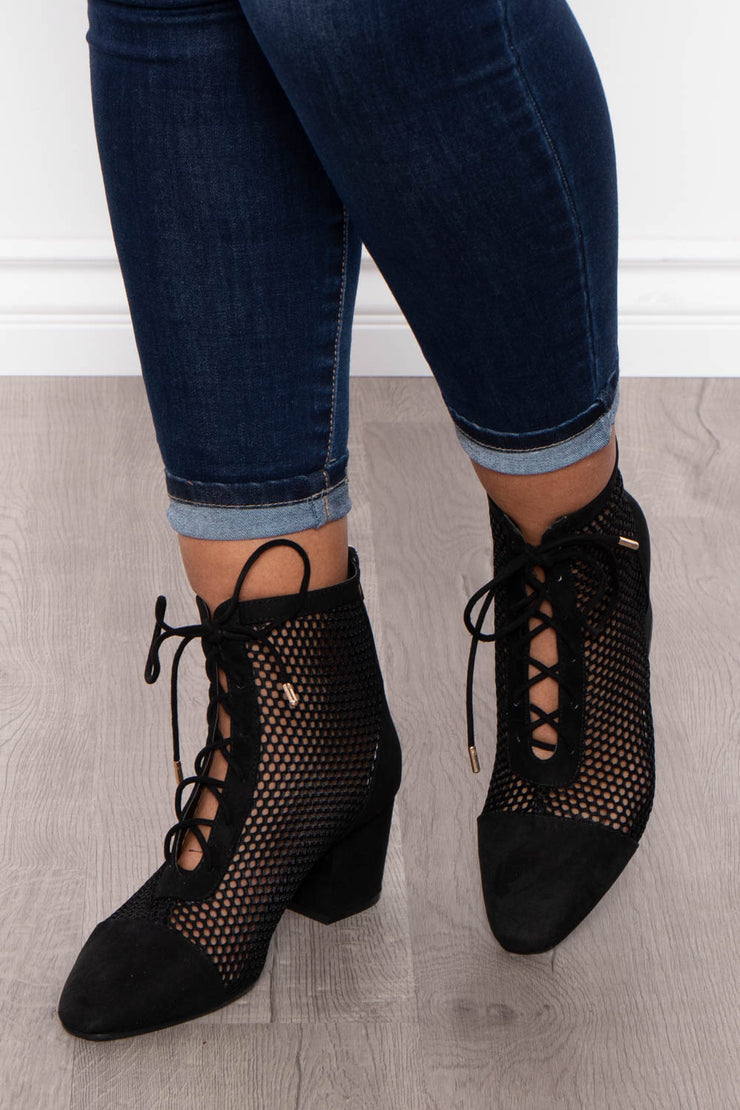 Bronx Netted Lace-Up Booties - Black