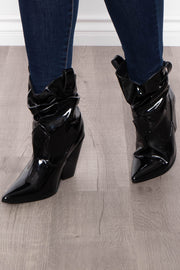 Adonis Pointy Patent Slouch Boot - Black