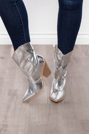 Curvy Sense -Plus_Size_Womens- On The Rocks Gator Cowgirl Boot - Silver