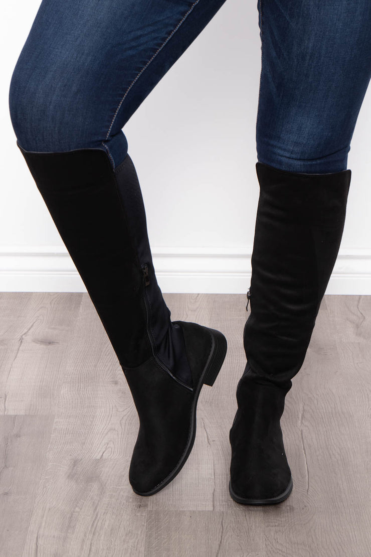 Curvy Sense -Plus_Size_Womens- Jungle Juice Extended Calf Knee High Boots - Black