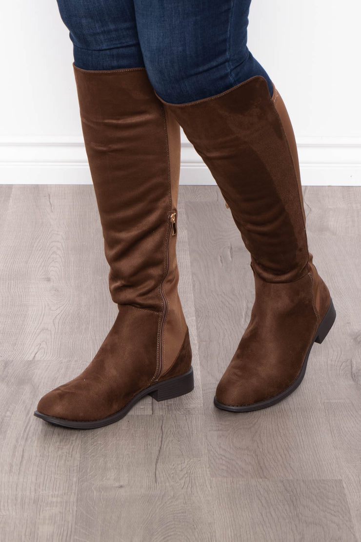 Jungle Juice Extended Calf Knee High Boots - Brown